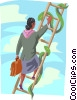 Vector Clipart image  of a women climbing ladder with