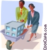 Vector Clipart image  of a people pushing building in