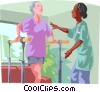 Vector Clipart graphic  of a Woman at physiotherapy