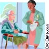 Vector Clip Art image  of a Elderly care