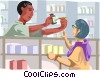 Pharmacists' helping customer Vector Clipart illustration