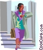 Vector Clip Art picture  of a women checking time on watch