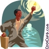 business metaphor, man in tunnel Vector Clipart image