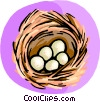 Vector Clip Art picture  of a bird nest with eggs