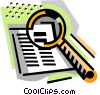 Vector Clipart graphic  of a Book with magnifying glass