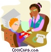 business meeting, man and woman discussing Vector Clip Art graphic