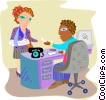 Woman receiving a disability check Vector Clip Art picture