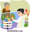 Vector Clip Art image  of a pharmacist talking to patient
