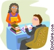 Vector Clip Art graphic  of a man at desk with a female