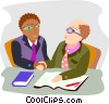 Vector Clip Art graphic  of a business men greeting and