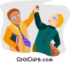 two office workers giving each other the high-five Vector Clipart illustration