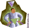 Vector Clip Art image  of a Man with power cables