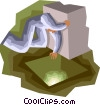Figure moving box to reveal light Vector Clipart illustration