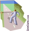 Figure walking down road to painting Vector Clipart graphic