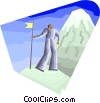 Figure looking up mountain Vector Clipart illustration