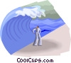 Figure about to be overtaken by wave Vector Clip Art image
