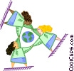 Vector Clipart picture  of a humans encircling the world