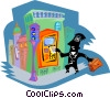 Figure at bank Vector Clipart illustration