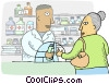 Vector Clipart graphic  of a Pharmacist dispensing
