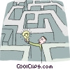 Vector Clip Art graphic  of a man with a light bulb in a maze