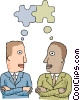 two businessmen thinking about a common goal Vector Clipart graphic
