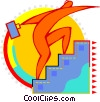 Vector Clip Art image  of a Figure walking up stairs