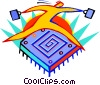 Figure jumping over computer chip Vector Clip Art graphic