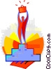 Figure on podium with briefcase Vector Clip Art picture
