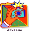 Hand with camera Vector Clipart graphic