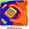 Vector Clipart image  of a Hand picking up computer chip