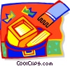Hand throwing computer equipment in trash Vector Clipart graphic