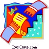 Vector Clip Art graphic  of a Hands exchanging paper
