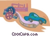 automobile rolling off the assembly line Vector Clipart graphic