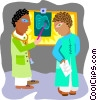 Vector Clipart illustration  of a two doctors discussing x-rays