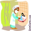 Vector Clipart picture  of a doctor washing hands before