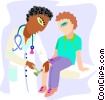 healthcare, doctor checking reflexes Vector Clip Art picture
