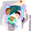 Vector Clip Art graphic  of an ambulance attendants with a patient
