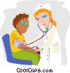 Vector Clip Art graphic  of a nurse checking a patient's