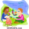 Vector Clipart picture  of a Couple having a picnic  on the