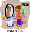 Vector Clipart image  of a man brushing his teeth