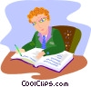 businessman writing in his journal Vector Clipart illustration