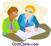 Vector Clip Art image  of a business men discussing plans