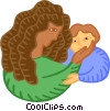 Vector Clipart picture  of a Mother with child