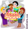 Vector Clipart graphic  of a Employee birthday party