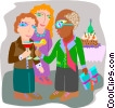 Vector Clipart illustration  of a employee being given a retirement party