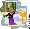 Vector Clipart graphic  of a employee receiving a Christmas bonus