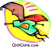 Vector Clip Art graphic  of a youngster with a Superman cape