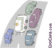 ambulance racing through traffic Vector Clipart picture