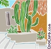 cactus with stairway Vector Clipart illustration