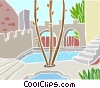 pool with walkway and trees Vector Clipart image
